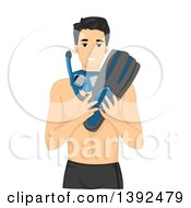 Clipart Of A Happy Man Holding And Wearing Snorkel Gear Royalty Free Vector Illustration by BNP Design Studio