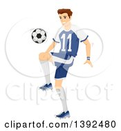 Clipart Of A Sporty Young White Man Bouncing A Soccer Ball Off Of His Knee Royalty Free Vector Illustration by BNP Design Studio