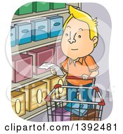 Clipart Of A Cartoon Blond White Man Reading A Shopping List In A Grocery Store Royalty Free Vector Illustration by BNP Design Studio