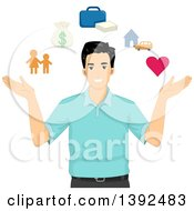 Happy Man With Icons Depicting Life