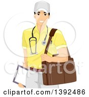 Clipart Of A Happy Male Doctor Carrying A Bag Out On A Home Visit Royalty Free Vector Illustration