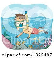 Clipart Of A Cartoon Brunette White Man Snorkeling Over A Reef Royalty Free Vector Illustration by BNP Design Studio