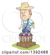 Clipart Of A Cartoon Happy Red Haired White Man Stomping Grapes To Make Wine Royalty Free Vector Illustration