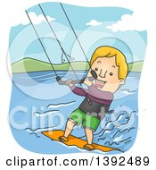 Clipart Of A Cartoon Blond White Man Kite Surfing Royalty Free Vector Illustration by BNP Design Studio