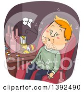 Clipart Of A Cartoon White Man Abusing Tobacco And Alcohol Royalty Free Vector Illustration