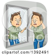 Clipart Of A Cartoon Brunette White Man With Dissociative Identity Disorder Arguing With Himself In A Mirror Royalty Free Vector Illustration