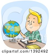 Clipart Of A Cartoon Blond White Man Looking At A Desk Globe Royalty Free Vector Illustration