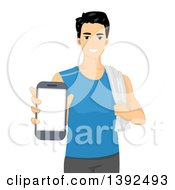 Clipart Of A Happy Man In Fitness Clothing Holding Out A Smart Phone Royalty Free Vector Illustration