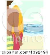 Clipart Of A Rear View Of A Male Surfer Holding A Board On A Beach Royalty Free Vector Illustration