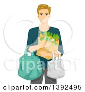 Clipart Of A Blond White Man Carrying Groceries Royalty Free Vector Illustration