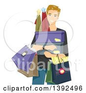 Clipart Of A Happy Blond White Man Carrying Shopping Bags And Boxes Royalty Free Vector Illustration