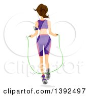 Clipart Of A Rear View Of A Brunette White Woman Using A Jump Rope Royalty Free Vector Illustration by BNP Design Studio