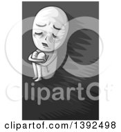 Clipart Of A Grayscale Man Curled Up In A Corner Royalty Free Vector Illustration