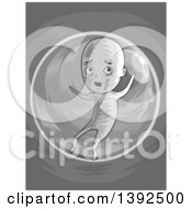 Clipart Of A Grayscale Man Stuck In A Bubble Royalty Free Vector Illustration