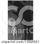 Clipart Of A Grayscale Man Under A Looming Shadow Royalty Free Vector Illustration