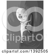 Clipart Of A Grayscale Man Entering A Hole To Another Dimension Royalty Free Vector Illustration by BNP Design Studio