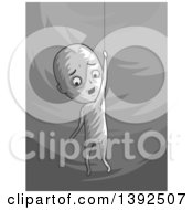 Clipart Of A Grayscale Man Hanging By A Thread Royalty Free Vector Illustration