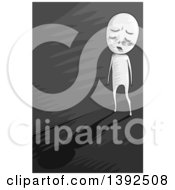 Clipart Of A Grayscale Man Walking Down A Dark Alley Of Depression Royalty Free Vector Illustration
