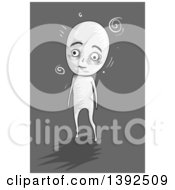 Clipart Of A Grayscale Dizzy Man Walking Royalty Free Vector Illustration