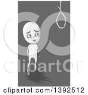 Clipart Of A Depressed Man Eyeing A Noose Thinking Of Suicide Royalty Free Vector Illustration by BNP Design Studio