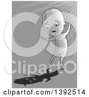 Clipart Of A Man Seeing His Scary Shadow Royalty Free Vector Illustration