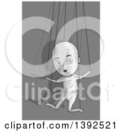 Clipart Of A Puppet Man Controlled By Strings Royalty Free Vector Illustration by BNP Design Studio