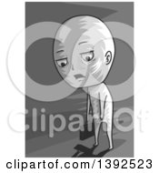 Clipart Of A Grayscale Tired Man Carrying A Briefcase And Dragging His Feet Royalty Free Vector Illustration