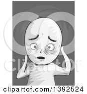 Clipart Of A Grayscale Troubled Man Royalty Free Vector Illustration