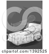 Clipart Of A Grayscale Man Experiencing Astral Projection Royalty Free Vector Illustration