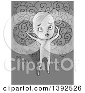Clipart Of A Grayscale Confused Man Losing His Mind Royalty Free Vector Illustration
