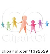 Clipart Of Colorful Paper People Reaching Out To Hold Hands Royalty Free Vector Illustration