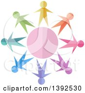 Clipart Of Colorful Paper People Holding Hands Around A Circle Royalty Free Vector Illustration