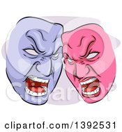 Clipart Of Pink And Purple Angry Codependent Theater Masks Royalty Free Vector Illustration