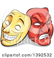 Clipart Of Yellow And Red Biopolar Theater Masks Royalty Free Vector Illustration