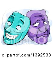 Clipart Of Turquoise And Purple Happy And Sad Theater Masks Royalty Free Vector Illustration