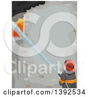 Clipart Of A Rear View Of A Male Firefighter Using A Hose To Put Out A Building Fire With Text Space Royalty Free Vector Illustration