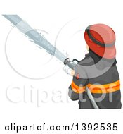 Clipart Of A Rear View Of A Male Firefighter Using A Hose Royalty Free Vector Illustration