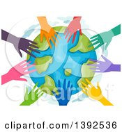 Circle Of Colorful Volunteer Hands Around Earth