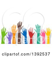 Clipart Of Colorful Volunteer Hands Raised Royalty Free Vector Illustration