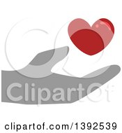 Clipart Of A Flat Design Hand Supporting A Blood Heart Royalty Free Vector Illustration