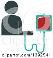Clipart Of A Flat Design Person Connected To A Blood Bag Receiving A Transfusion Royalty Free Vector Illustration