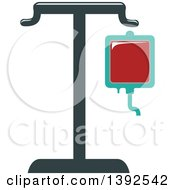 Clipart Of A Flat Design Blood Bag On A Stand Royalty Free Vector Illustration