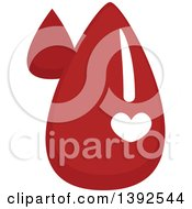 Clipart Of A Flat Design Heart On Blood Drops Royalty Free Vector Illustration by BNP Design Studio