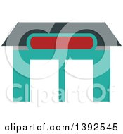 Clipart Of A Flat Design Blood Bank Building Royalty Free Vector Illustration