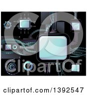 Clipart Of Cyberpunk Interconnected Electronic Devices Royalty Free Vector Illustration