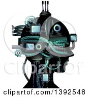 Clipart Of A Cybernetic Head Royalty Free Vector Illustration