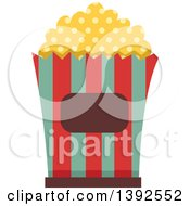 Clipart Of A Flat Design Popcorn Bucket Royalty Free Vector Illustration by BNP Design Studio