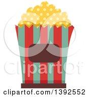 Clipart Of A Flat Design Popcorn Bucket Royalty Free Vector Illustration