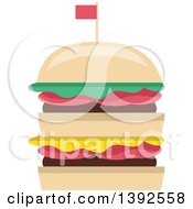 Clipart Of A Flat Design Double Burger Royalty Free Vector Illustration