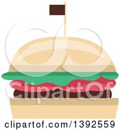 Clipart Of A Flat Design Burger Royalty Free Vector Illustration